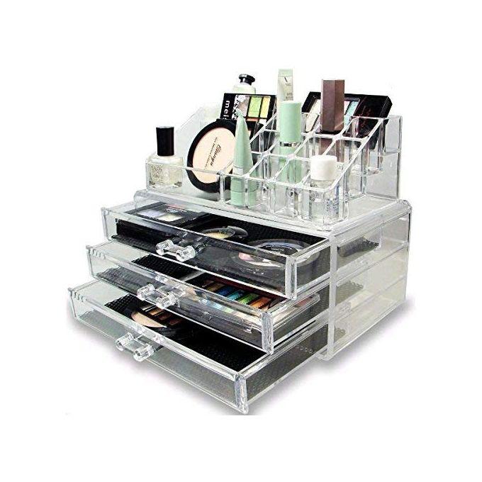 Boite de rangement pour cosmétiques,maquillage et bijoux,à 3 tiroirs avec  Miroir