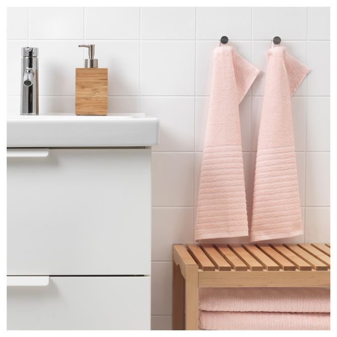 Serviette salle de bain rose pâle 30 x 50 cm / 2 pièces