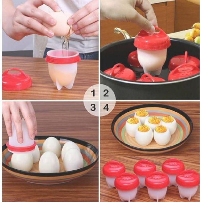 ستة قوالب سيليكون لطبخ البيض المصلوق بسهولة واقتصاد
