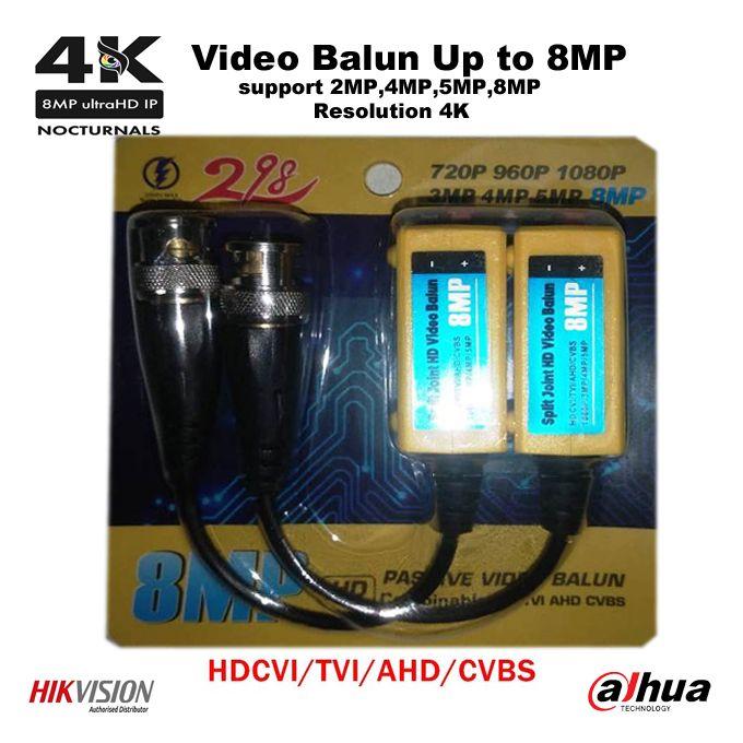 Bnc Balun Vidéo Up To 8mp Adaptateur Démetteur Récepteur Passif 4k