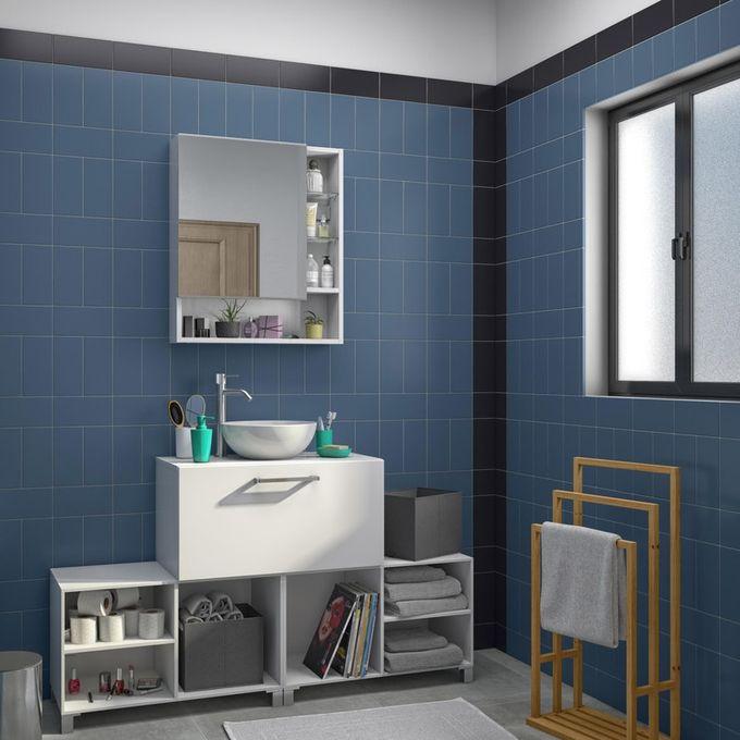 Armoire De Toilette Miroir Blanc Brillant 70x60x16 Cm Garantie 5 Ans