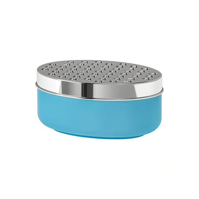 Râpe Avec Bac Collecteur Bleu Boîte 17x12x7 Cm Avec Couvercle Et 2 Râpes
