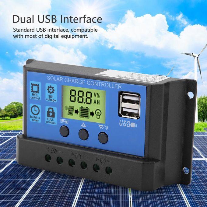 10//20//30A 12V//24V LCD Solar Panel Charger Controller Battery Regulator Dual USB