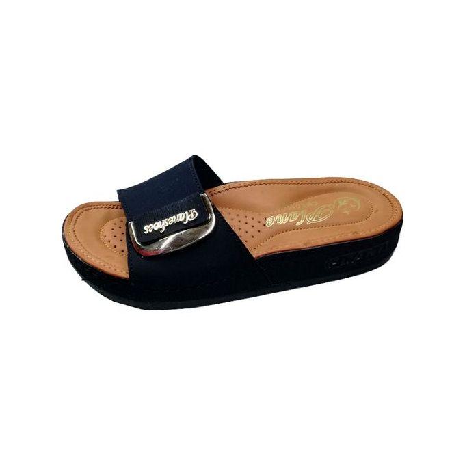 Sandale médicale Femme avec Rembourrée Semelle confortable pour l'été Noir
