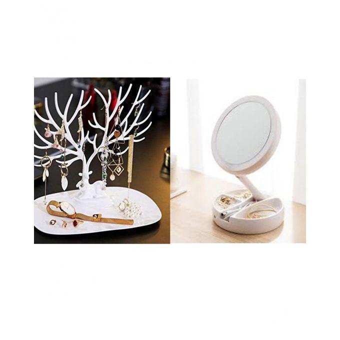 Pack LED Miroir pour maquillage + cerf porte bijoux