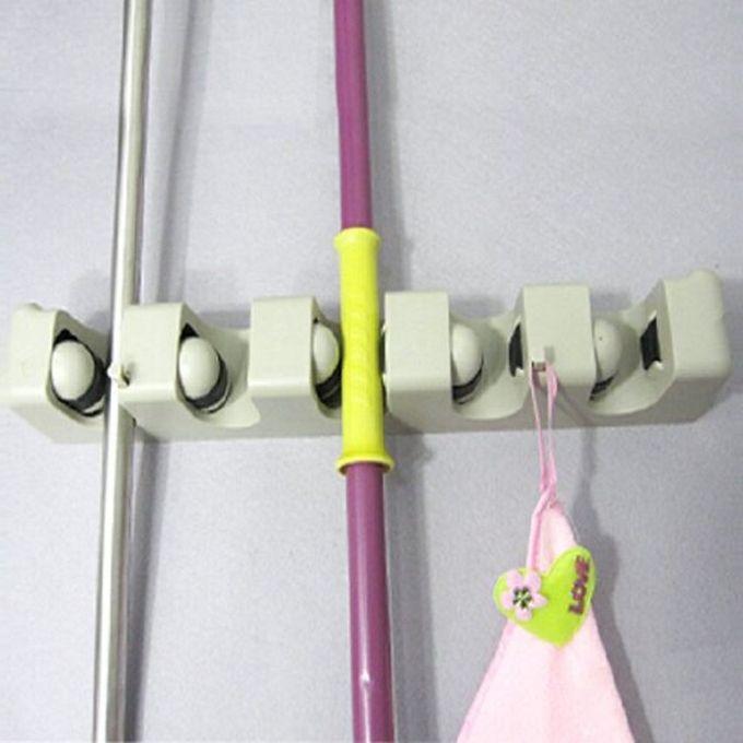 Support De Rangement Mural Pour Balais Et Autre Outils A 5 Compartiments 6 Crochets
