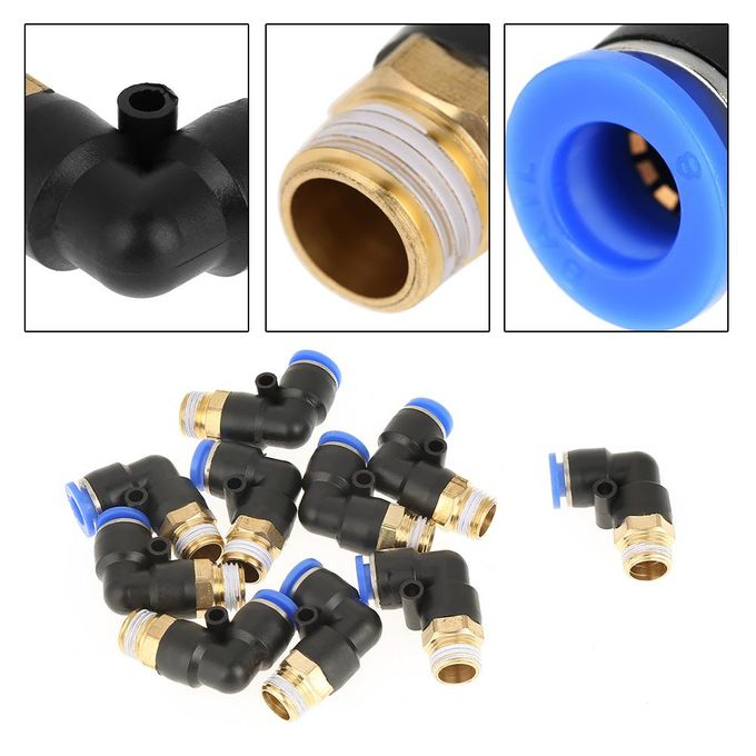 Shanyu 10pcs Pneumatique Coude Rapide Connecteur Adaptateur Dair Raccords 8 Mm Diamètre Filetage G1 4 Set