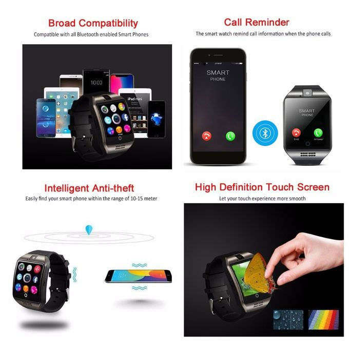 Q18 Smart Watch Support Sim Tf Card 500mah Q18 Battery Pedometer Smart Watch Bluetooth Clock For Android Ios Phoneblack