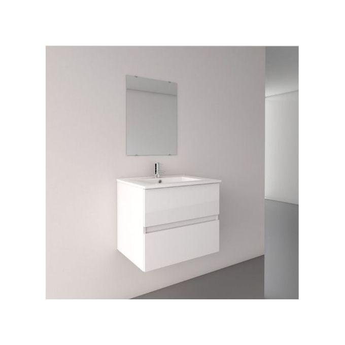 Meuble Salle De Bain Vasque Miroir Blanc Brillant 60x60x456 Cm Garantie 1 An