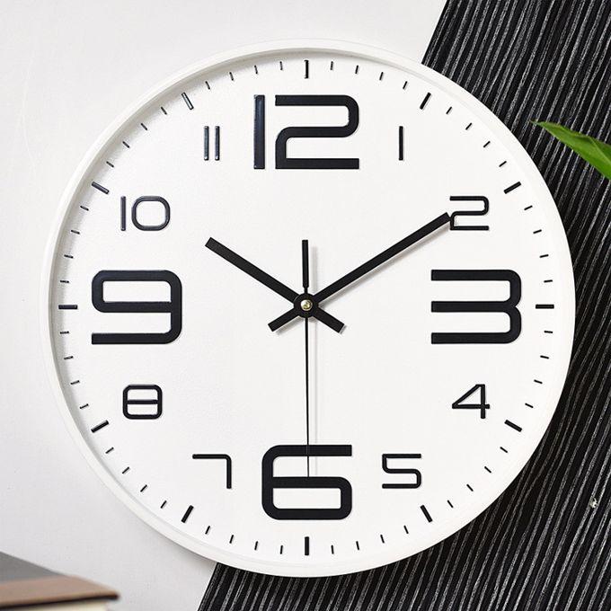 Generic Modern Glass Wall Clock Home Living Room Powered Hangi White à Prix Pas Cher Jumia Maroc