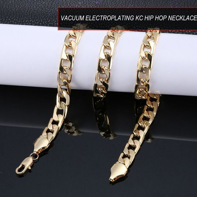 Or Mens Punk Stainless Steel Necklace Hip Hop Chain Cuban Brake Gold