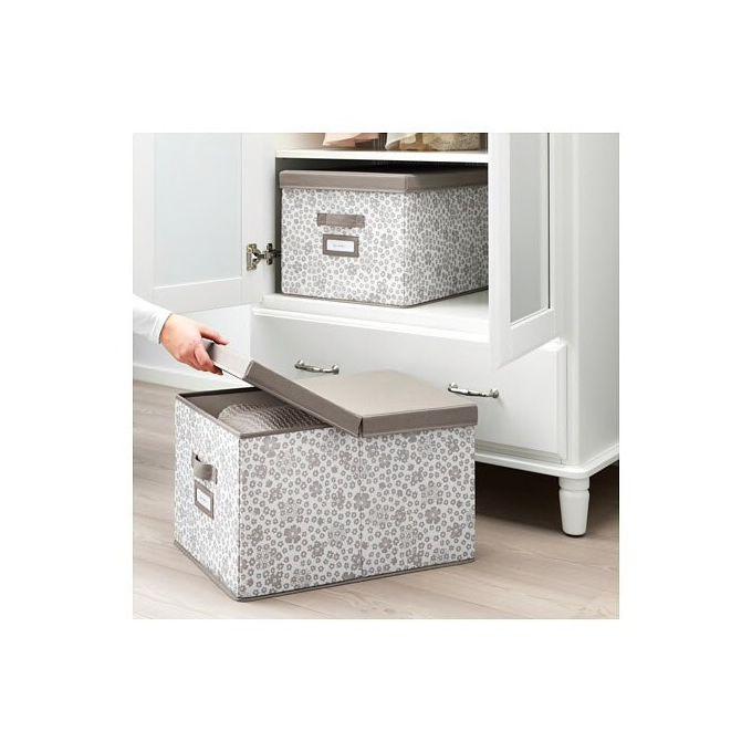 Boîte Avec Couvercle Rangement Beige 35x50x30 Cm