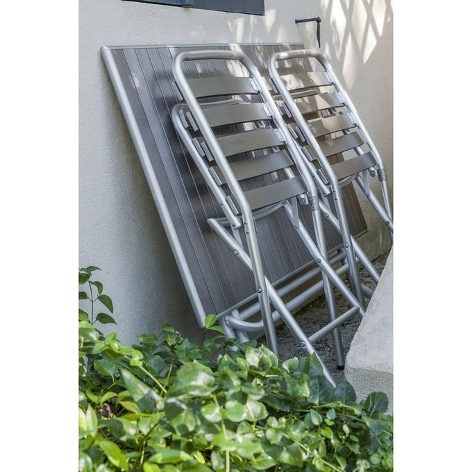 Chaise Pliante de Jardin - Gris - Aluminium - BOSTON - Garantie 3 Ans