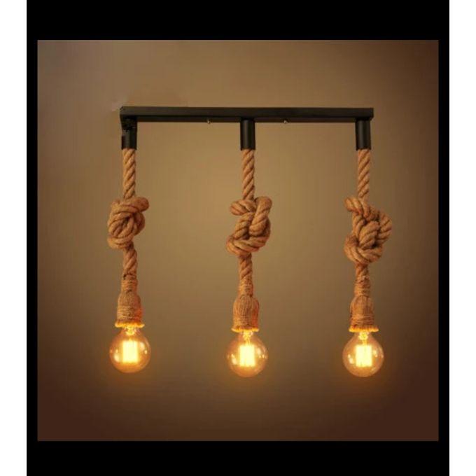 Suspension Lustre Pendentif Corde Chanvre American Vintage 3 Ampoules Edison Led St64 Offerte