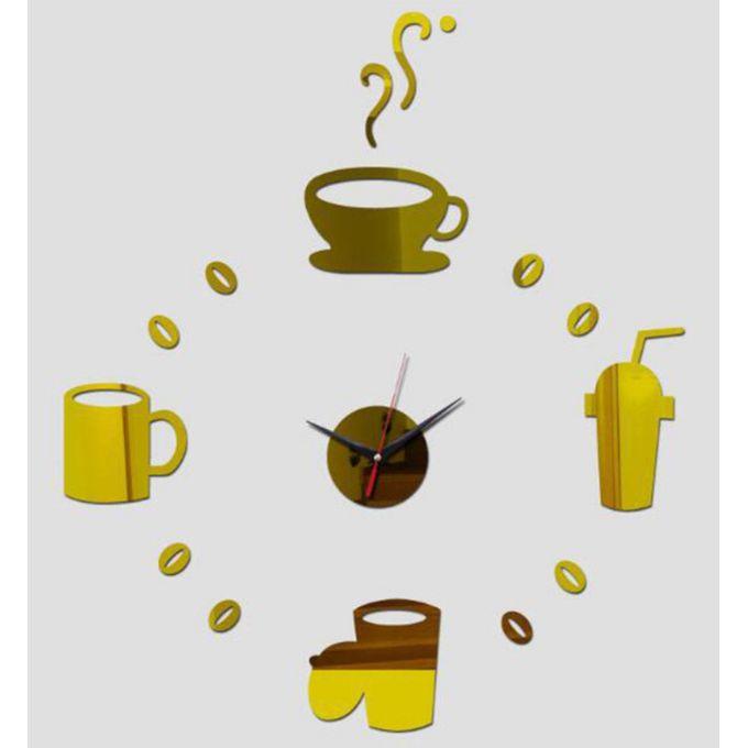 ساعة حائط ثلاثية الأبعاد بتصميم أكريليك أشكال القهوة لاصقة