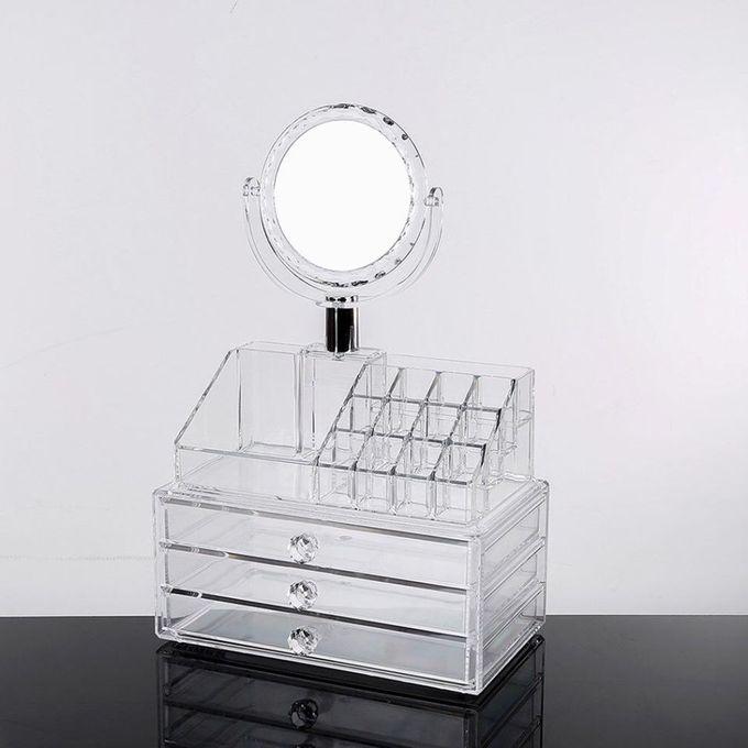 منظم مستحضرات التجميل صندوق تخزين المكياج والمجوهرات