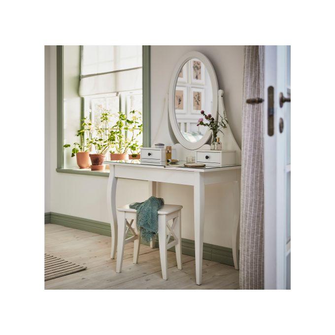Coiffeuse Blanc 100 X 50 Cm Avec Miroir