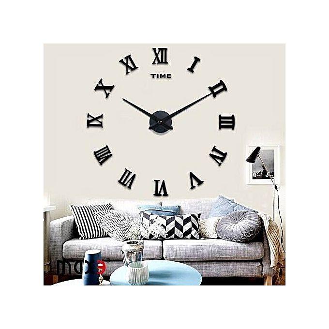 Romain Chiffre Horloge Murale Numéro Diy Autocollant Miroir Décor à La Maison 3d Art Noir