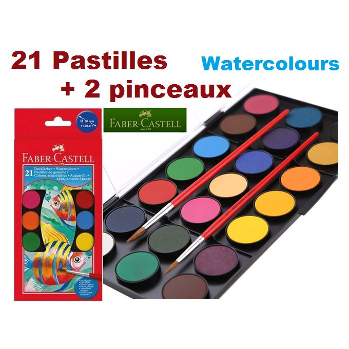 Faber Castel Boite De Peinture Aquarelle 21 Pastilles De Gouache Couleurs Intenses 2 Pinceaux A Prix Pas Cher Jumia Maroc