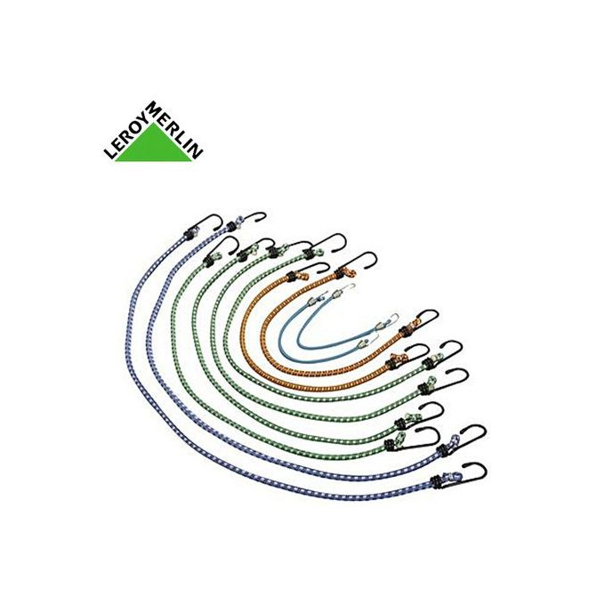 Lot De 10 Sandows Tendeurs Avec Crochets Métal Plastifié Longueur De 25 à 80cm