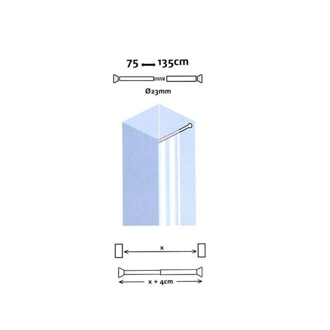 Barre De Rideau De Douche Droite Extensible De 75 à 135 Cm Chromé