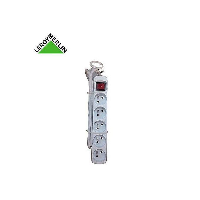 Multiprise Filaire Rallonge 5 Prises Interrupteur Blanc Garantie 5 Ans