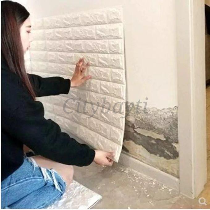 Adhesife Paneaux Mural Anti Humidité Briques 3d Size 77 70 Blanc