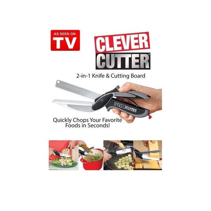 2 En 1 Clever Cutter Couteau Et Planche à Découper Ciseaux