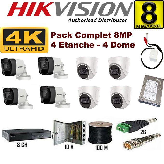 Kit Complet De 8 Caméras De Surveillance De 8mp 4k Journuit