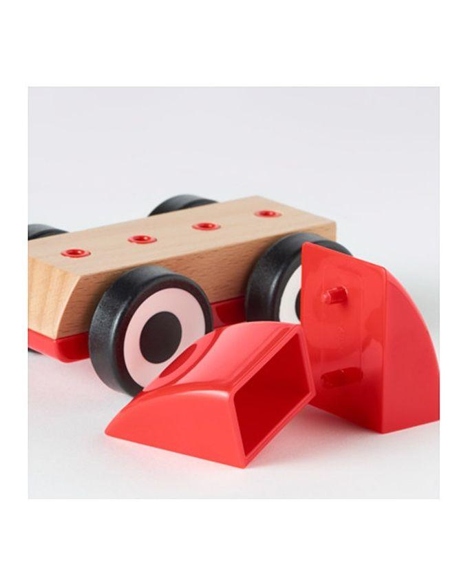 Voiture rouge pour enfants en bois
