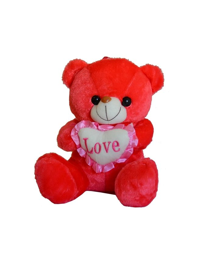 Nounours Peluche Ours Love 26cm - Rouge
