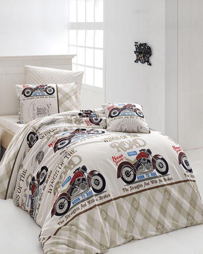 nazenin housse de couette fantaisie coton 4 pi ces blanc cass acheter en ligne jumia. Black Bedroom Furniture Sets. Home Design Ideas
