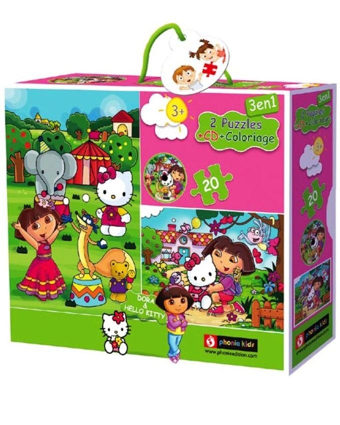 2 Puzzles - Dora + Hello kitty 20pièces + CD