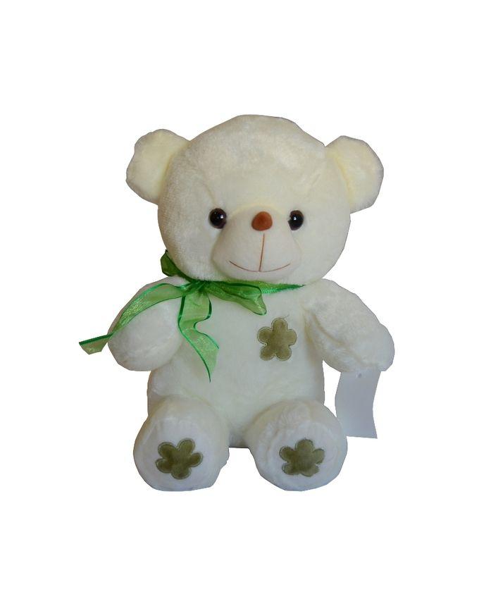 Nounours Peluche Ours avec châle 30cm - Blanc & Vert