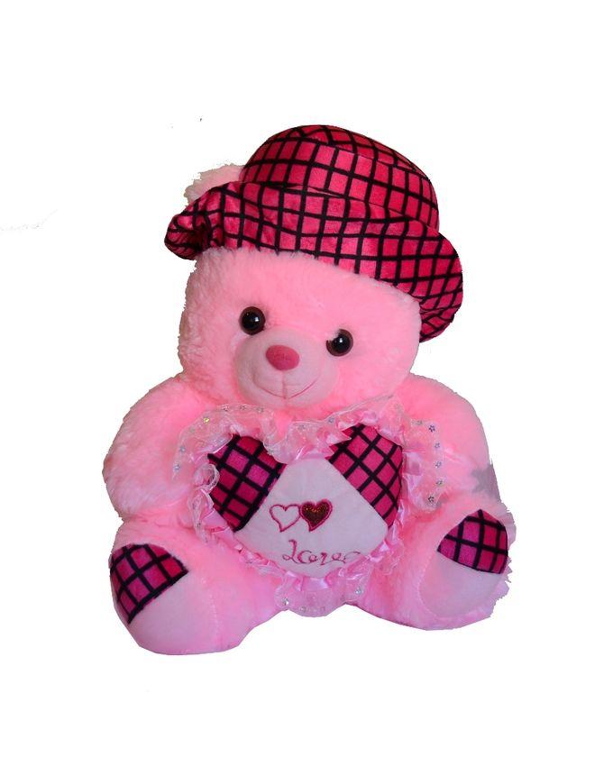Nounours Peluche Ours Rose avec chapeau Rouge