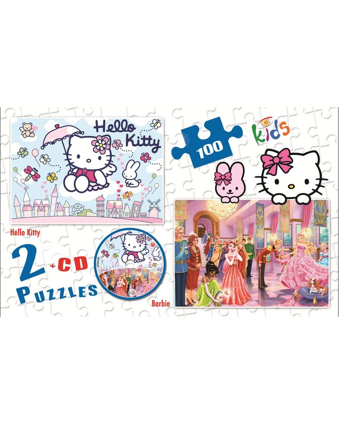 2 Puzzles - Hello kitty + Barbie  + CD