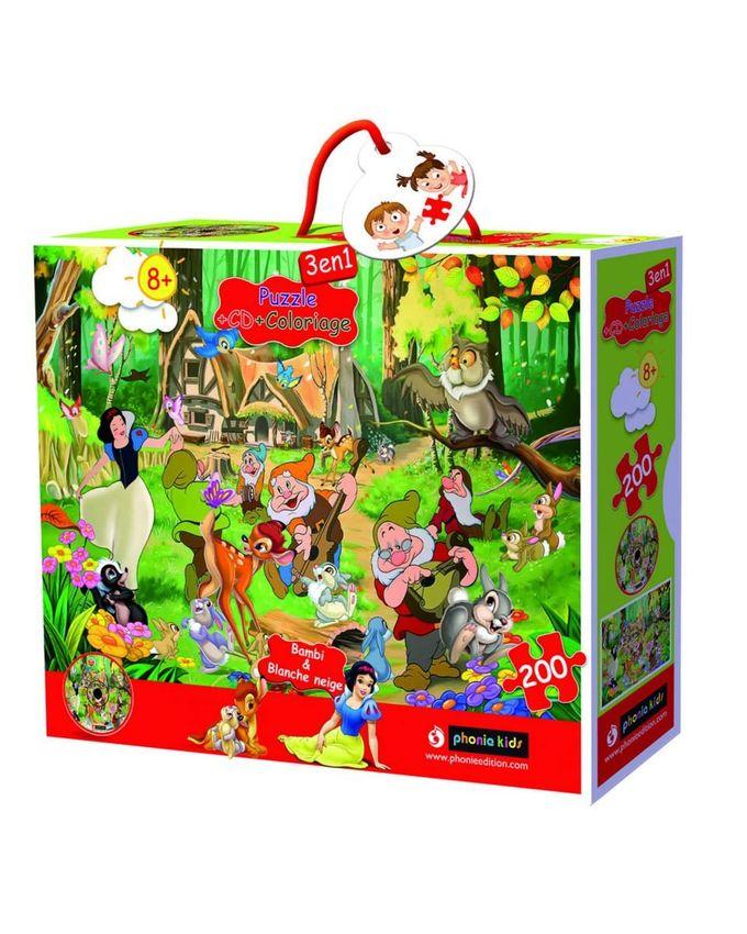 PUZZLE - Bambi et Blanche neige 200 pièces + CD