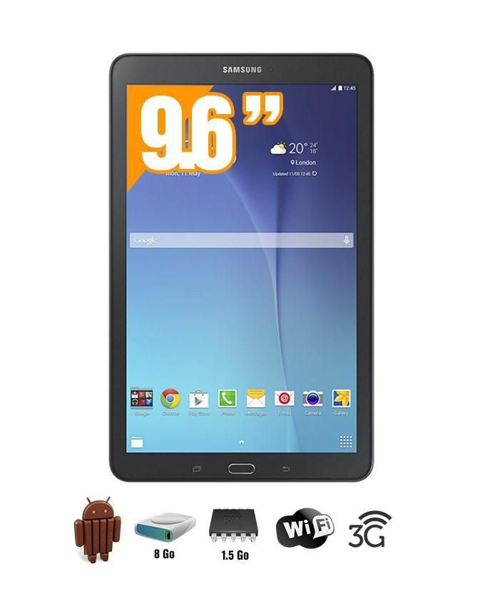 samsung tablette galaxy tab e 9 6 wifi 3g android 4 4 8 go hdd 1 5 go ram noir. Black Bedroom Furniture Sets. Home Design Ideas