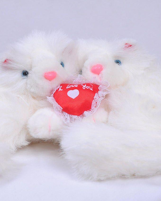 Peluche jumelle Chats Blanc Avec Coeur Rouge