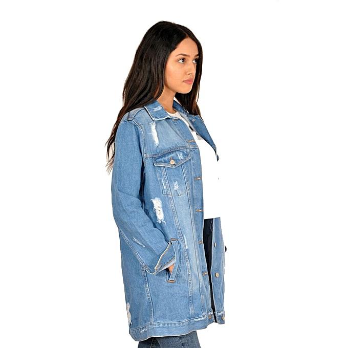58559a340f0e KATZE Veste jeans longue stylé effet déchiré- bleu clair à prix pas ...