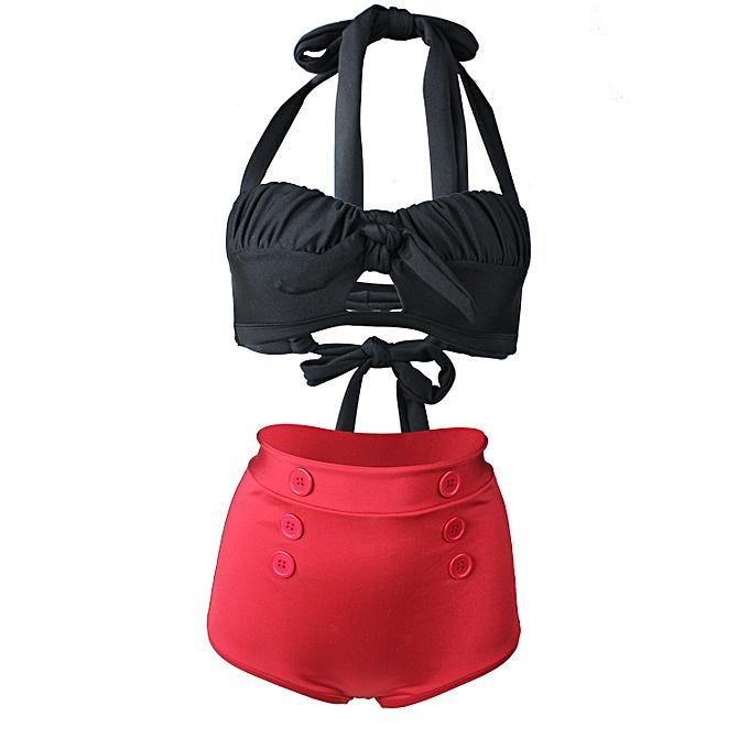 mode Button retro maillot de bain high waist was thin split grand Taille bikini strapless backless à prix pas cher