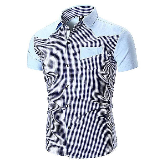 mode Personality Hommes& 039;s Décontracté Slim manche courte Plaid Shirt Top chemisier  -bleu à prix pas cher