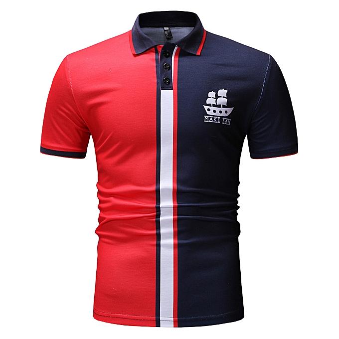 Fashion Mens Buttons Design Half Cardigans Short Sleeve Patchwork Casual T Shirt  -rouge à prix pas cher