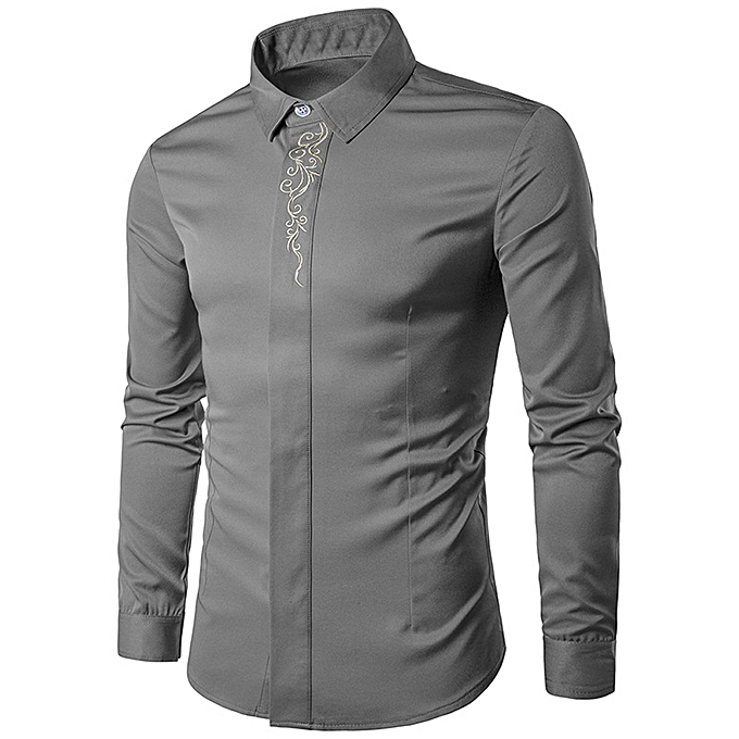 Fashion Mens Hipster Fit Long Sleeve Button Embroidery Down Dress Shirts Tops GY XL à prix pas cher
