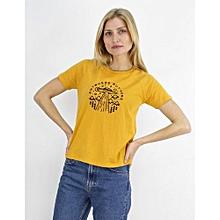 t shirt imprim 100 coton jaune - Fabriquer Un Meuble Tv2533