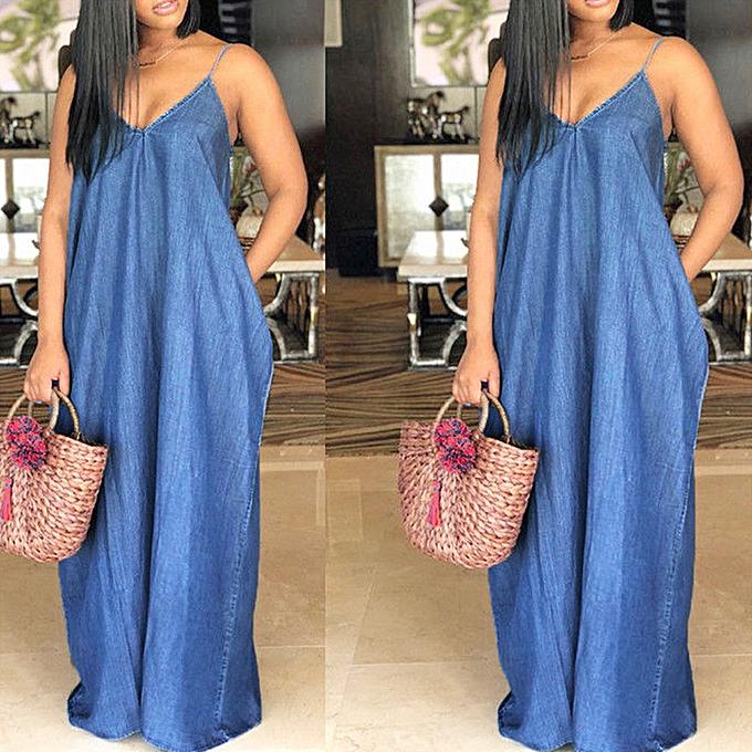 Fashion Fashion Summer femmes V-Neck Sleeveless Backless Denim Solid Beach Long Dress à prix pas cher