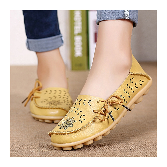 Fashion SOCOFY Large Taille Floral Hollow Out Comfy chaussures Casual Lace Up Flats à prix pas cher    Jumia Maroc