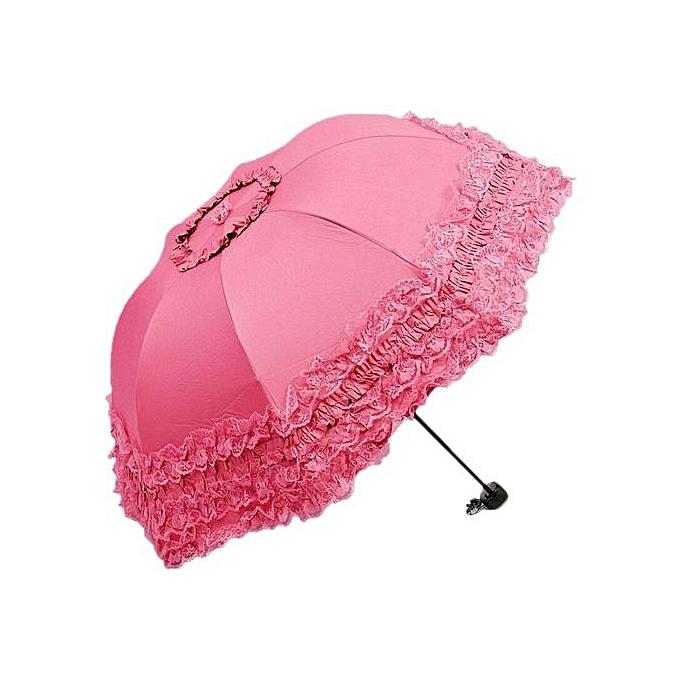 Generic Lace Twice Folding Mini voyage Umbrella Sun UV Prougeection Umbrellas (rose) à prix pas cher