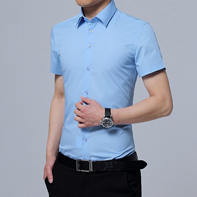 Fashion Korean version of the trend of handsome hommes shirt business casual Slim shirt light bleu à prix pas cher