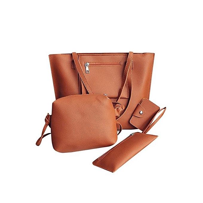 nouveauorldline femmes cuir Shoulder sac+bandoulière sac+Clutch Wallet+voitured Holder sac- marron à prix pas cher